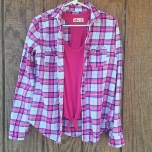 Hollister flannel and tank top set small & XS